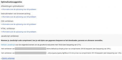 Website snelheid meten - Google Pagespeed suggesties - Inventus Online